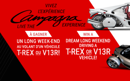 Concours 2016 de Campagna Motors. Gagner la location d'un week-end du T-REX ou du V13R
