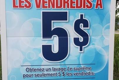 Lavage de votre auto à 5$ les vendredis